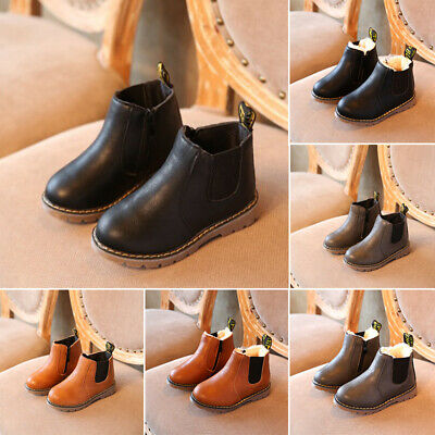 Fashion Winter Autumn Kids Girls Children Flat Faux Leather Ankle Boots Shoes