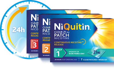 NiQuitin 21|14 |7 mg Clear Patch - 7 Days Treatment | Step 1 | Step 2 | Step 3