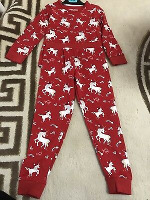 New Girls Kids M&S Xmas Unicorn Pyjamas Age 4 To 5