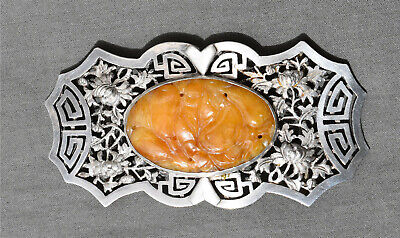 ANTIQUE CHINESE EXPORT SILVER BELT BUCKLE 19thc WITH CARVED STONE