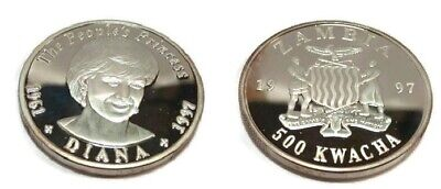 1997 Zambia Large Silver Proof 500 Kwacha-Princess Diana