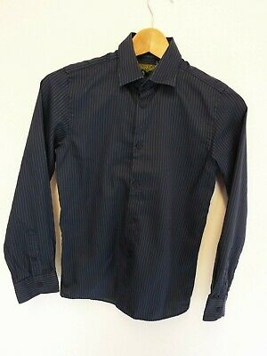 Ted Baker Aged 12 Long Sleeved Navy & Green Striped Shirt