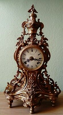 Antique Baroque Style Brevettato Gilded Imperial Mantel Clock, German Mechanism