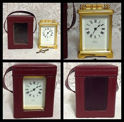 Antique Brass Carriage Clock In Oxblood Leather Travel Case, French Mechanism