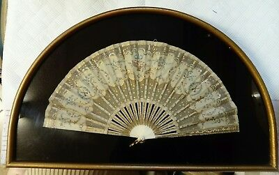 Antique Victorian Hand Painted, Lace & Embroidered Fan, Kept Under Glass, Vgc