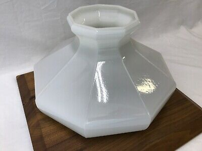 "Antique Vtg White Milk Glass Lamp Shade 9 Panel Side 10"" Fitter Oil Aladdin Opal"