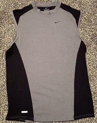 Nike Pro Combat Dri Fit Sleeveless Compression Tee Black And Gray Mens Large VGC