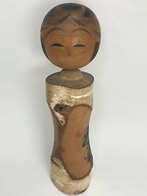Vintage Antique Japanese Kokeshi Doll Birch Kanji Calligraphy Artist Signed