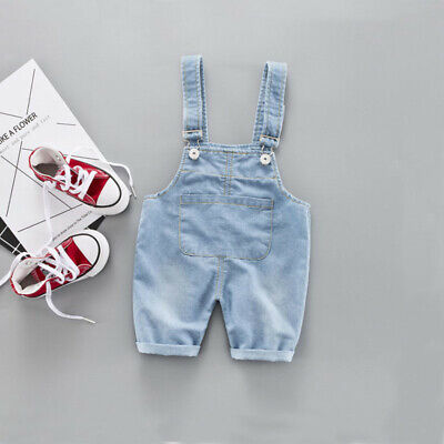 Toddler Kids Boys Girls Solid Pants Denim Suspender Trousers Jean Baby Clothes