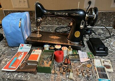 Vintage 1947 Singer Model 66 Electric Sewing Machine Tested Free Ship