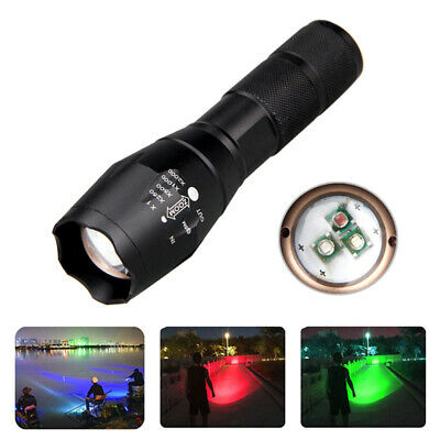 Green Red Blue LED Flashlight Zoomable Hunting Hog Fox Torch Adjustable Focus DC