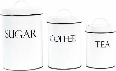 Outshine White Metal Nesting Kitchen Canisters | Air Tight Lids | Kitchen Decor