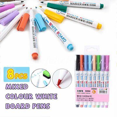 8 Colours Set Whiteboard Markers Pens Erase Dry White Board Bullet Fine Tip 14cm