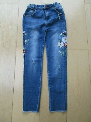 Girls Denim Distressed Ripped Embroidered Flower Fray Hem Jeans 11-12 yrs 152cm