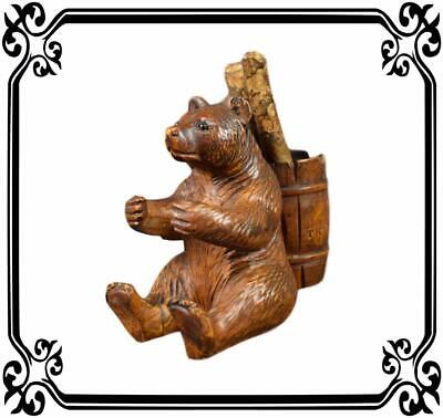 Antique French Black Forest Hand Carved Wood Bear Statue Sculpture