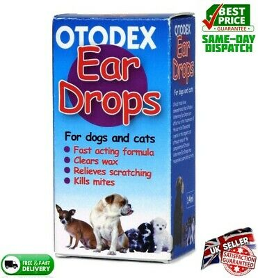 Otodex Veterinary Dog Drops Pet Cat Ear Mite Treatment Infection Clear Wax