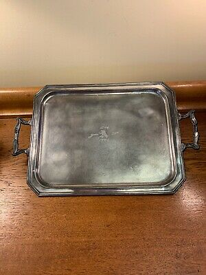 Rare Antique Vintage FB Rogers Silver Plated Tea Serving Tray Handles Dated 1921