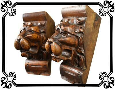 Pair of French Antique Carved Oak Wood  Lion Support Architectural