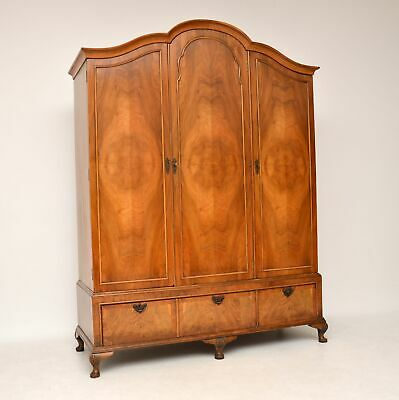Antique Figured Walnut Three Door Wardrobe