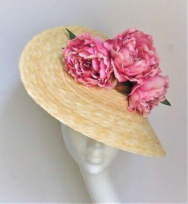 Natural Straw saucer disc hat pink flower fascinator Ascot Derby Races Wedding