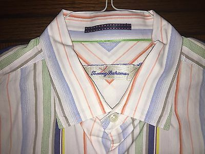 TOMMY BAHAMA COLORFUL STRIPED 100% COTTON SPORT SHIRT EXC. COND. SIZE m (???)