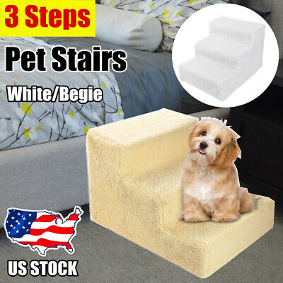 3 Steps Soft Cat Dog Steps Ramp Portable Small Climb Pet Step Stairs Beige/White