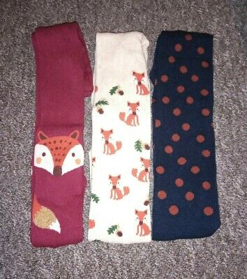 Girls Fox Themed Set Of 3 supersoft  Pairs Tights age 5-6  new with tags