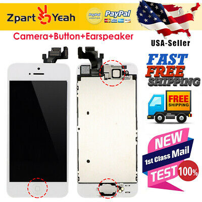 LCD Display Touch Digitizer Screen Full Assembly Replacement for iPhone 5 White