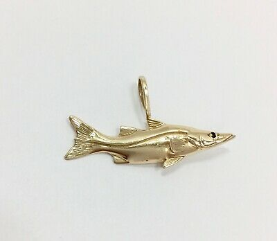 Solid 3D Snook Fish Pendant Charm for Necklace 14k Yellow Gold 585