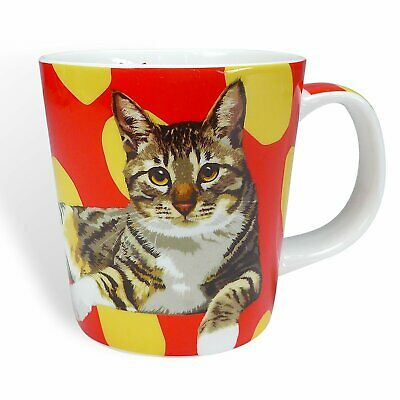 Fine Bone China Tabby Cat Mug by Leslie Gerry with Gift Box Cup Red Yellow Boxed