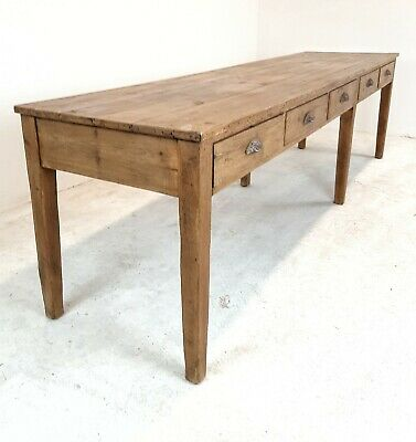 Antique Pine farmhouse dining or Kitchen prep Table Island (10 Drawers)
