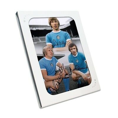Manchester City Photo Signed By Colin Bell, Francis Lee, Mike Summerbee Gift Box