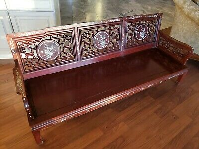 Antique Chinese Rosewood Bench Chair 3 Piece Set Mother of Pearl Inlay Hong Kong