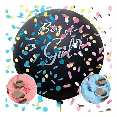 """Gender Reveal Black 36"""" Balloon Baby Girl Pink  Or Baby Boy Blue Confetti inc"""