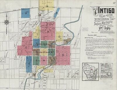 Antigo, Wisconsin~Sanborn Map© sheets~ high resolution color~ on CD~1889 to 1919