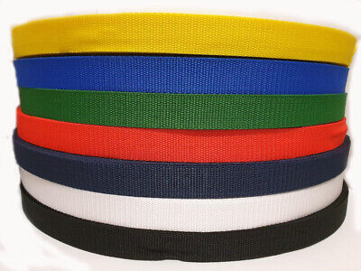 25MM Polypropylene Webbing strap Black Navy Blue White Green Red Yellow Colour