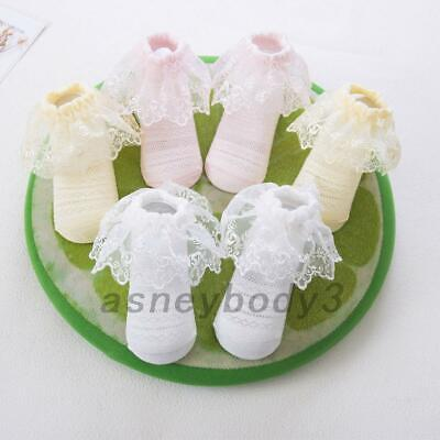 3 Pairs Ruffles Lace Frilly Socks Newborn Infant Toddler Baby Girls Cotton Soft