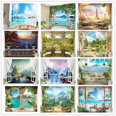 Window Scenery Villa Tapestry Sea Wall Hanging Tapestry Living Room Home Decor