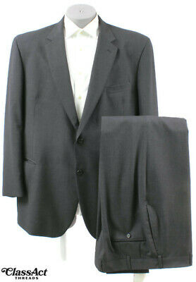 "Jos A Bank  Wool Charcoal Gray 2 Btn 2PC Suit 50L Flat Fronts 38"" Waist"
