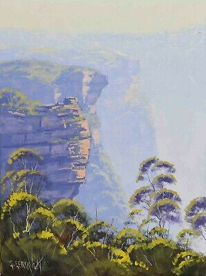 Landscape painting, Blue mountains, cliff Australian art, Original by G. Gercken
