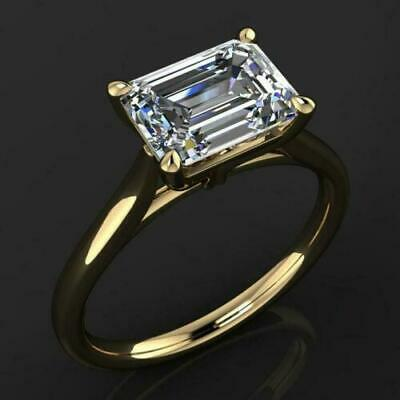1.80Ct Near White Emerald Cut Moissanite Engagement Ring Solid 14K Yellow Gold