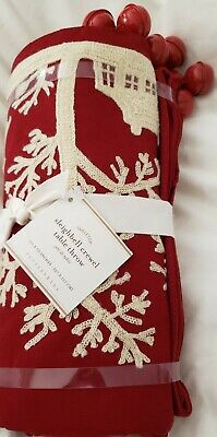 New Pottery Barn Sleigh Bell Crewel Embroidered Table Throw 50 x 50