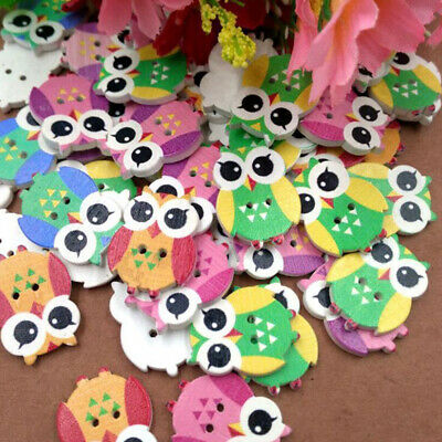 Practical Cute Twig Owl Sewing Scrapbooking DIY Crafts Wooden Buttons 2 Holes J