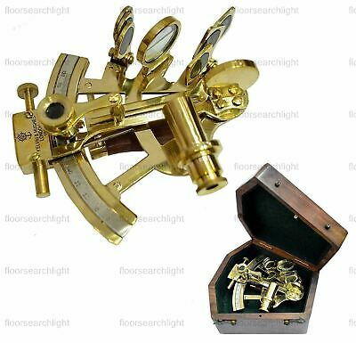 Maritime Antique Solid Brass Sextant Vintage Nautical Sextant With Wooden Box