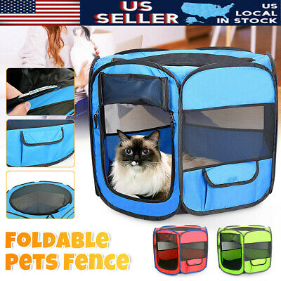 Pet Dog Cat Tent Fence Portable Cage Folding Kennel Puppy Playpen Exercise Bed