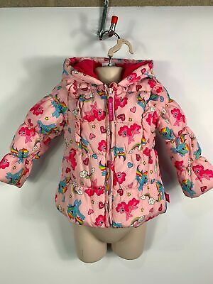Girls Tu My Little Pony Pink Padded Hooded Jacket Rain Coat Kids Age 1.5/2 Years
