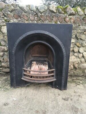 vintage victorian style large cast iron fire surround- old heavy casting