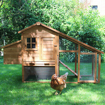 Zoo-XXL Timber Chicken Coop 'Bertha' with run, Easy to clean opening chambers