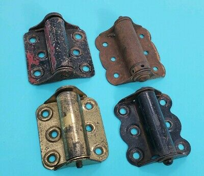 4 Vintage Heavy Duty Spring Loaded Screen Door Fence Gate Hinges