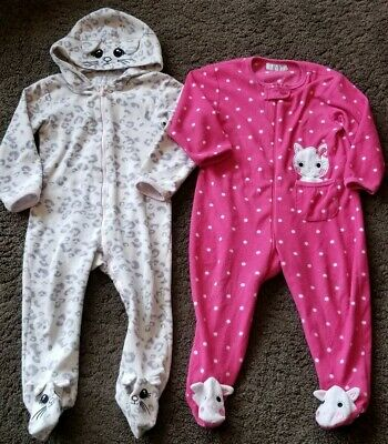 Girls 2 x Fleece All In One Sleepsuit Pyjamas Nightwear (Non Gerber Oanie)